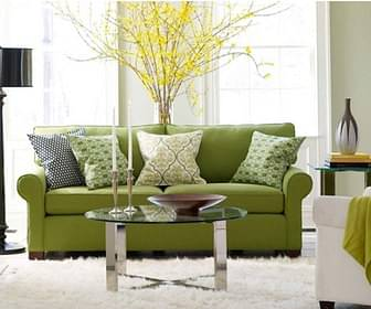 room with green sofa